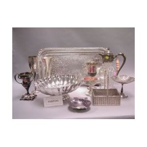 Large Lot of Silver Plated Hollowware and Tableware.