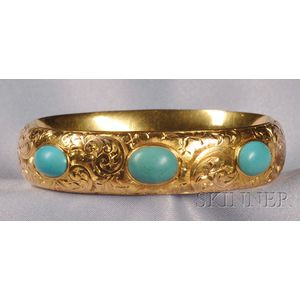 Art Nouveau 14kt Gold and Turquoise Bangle, Shreve & Co.