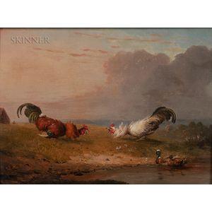 Franz Van Severdonk (Belgian, 1809-1889)      Two Roosters