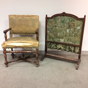Louis XIII-style Upholstered Walnut Open Armchair and a Louis XVI-style Fire Screen