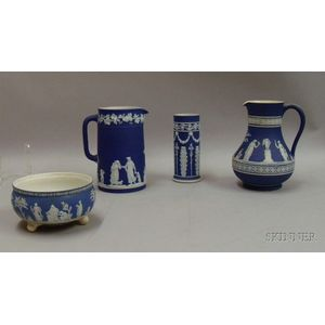 Four Wedgwood Dark Blue Dip Jasper Table Items