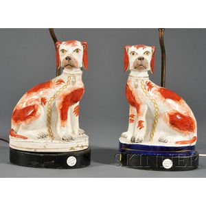 Pair of Staffordshire Dog Lamp Bases