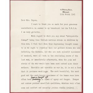 Churchill, Clementine (1885-1977) Typed Letter Signed, Whitehall, 11 March 1941.