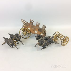 Polychrome Painted Cast Iron Horse and Carriage