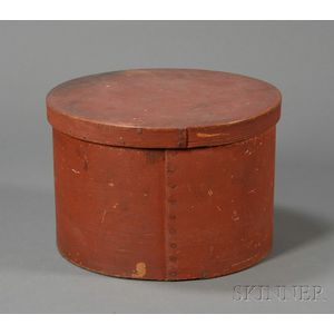Large Round Red-painted Wooden Pantry Box