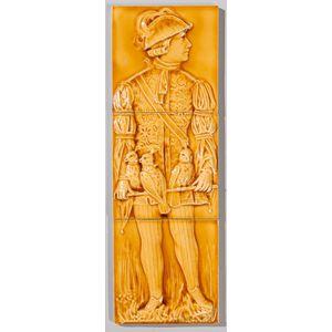 Cambridge Art Tile Co. Three-part Pottery Tile Falconer