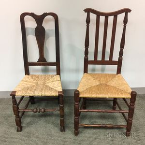 Queen Anne Maple Side Chair and a Bannister-back Side Chair