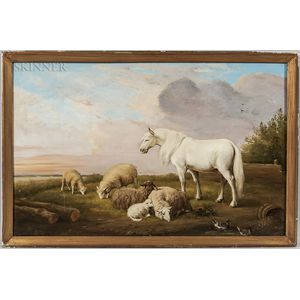 European/American School, 19th Century      White Horse with Grazing Sheep