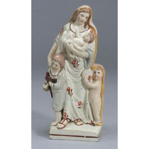 Pearlware Figural Group Depicting Charity