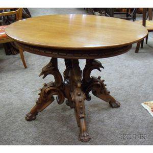 Victorian Oval Carved Walnut Figural Pedestal-base Center Table