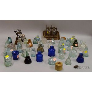 Forty Glass and Stoneware Inkwells, Bottles, and Two Inkstands
