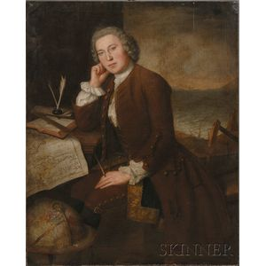 American/Anglo School, 18th Century      Portrait of a Mariner with a Map and Globe.