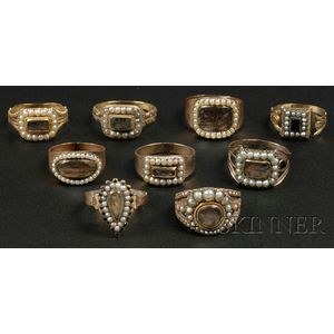 Nine Gold and Hairwork Mourning Rings