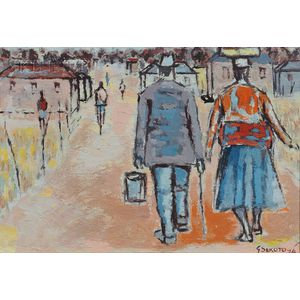 Gerard Sekoto (South African, 1913-1993)      Figures Walking in a Township