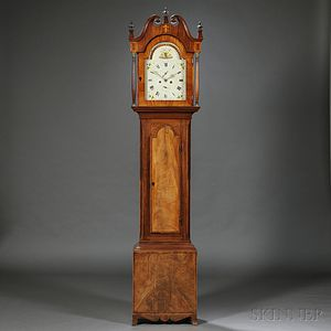 Highly Figured Mahogany Veneer Tall Clock