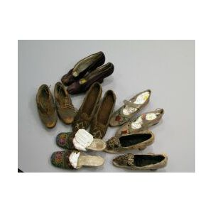 Five Pairs of 19th Century European Ladys Shoes.