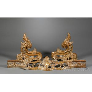 Pair of Louis XV-style Rococo Brass Chenet