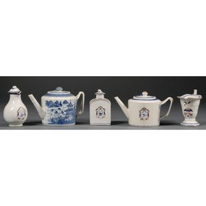 Five Chinese Export Porcelain Teaware Items