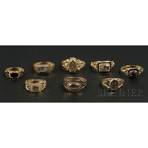 Eight Gold Mourning Rings