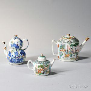 Three Export Enameled Teapots