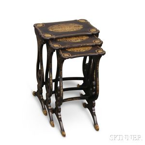 Set of Three Lacquered and Gilt Nesting Tables