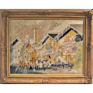 Charles Cobelle (French 1902-1998)      European Street Scene.