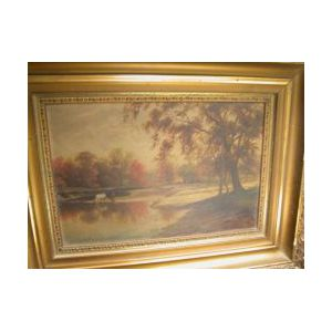 Framed Oil Landscape with Cows Watering