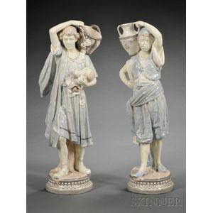 Pair of Porcelain Figures of Servants