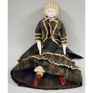 Blonde China Shoulder Head Doll