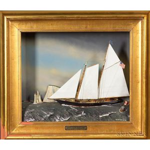 "Diorama:  ""There is No Second"" Schooner Yacht America, Isle of Wight 1851."
