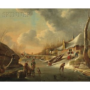 Attributed to Andries Vermeulen (Dutch, 1763-1814)      Winter on the River.