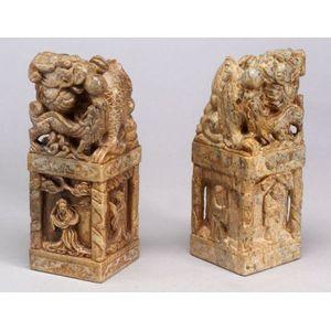 Pair of  Soapstone Carvings