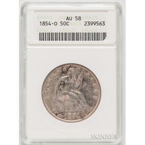 1854-O Seated Liberty Half Dollar, ANACS AU58.     Estimate $200-300