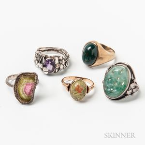 Two 14kt Gold and Hardstone Rings and Three Sterling Silver Rings