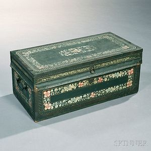 Green-painted and Decorated Brass-bound Camphor Wood and Leather Chest