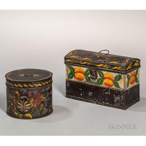 Painted Tin Document Box and Round Box