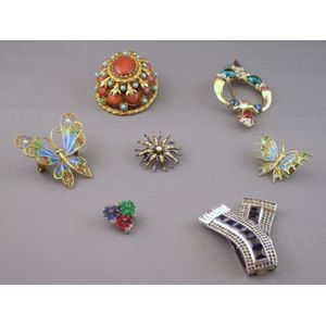 Two Costume Paste Clips, a HAR and a Trifari Costume Brooch, Two Enameled Gilt Silver Butterfly Pins, and a Gol...