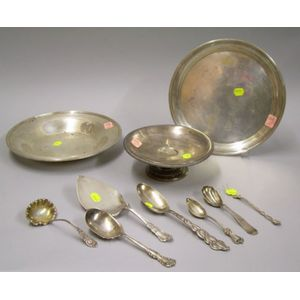 Three Sterling Silver Hollowware Items and Seven Pieces of Sterling and Coin Silver   Flatware