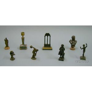 Six Continental Brass and Metal Figures, a Small Bronze Bust of Byron, and an   Ormolu-mounted Marble Candlestick