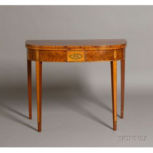 Federal Mahogany and Tiger Maple Inlaid Card Table