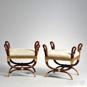 Pair of Empire-style Parcel-gilt Tabourets