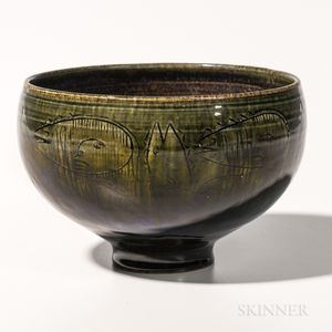 Edwin and Mary Scheier Decorated Pottery Bowl