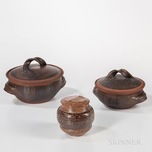 Karen Karnes (American, 1925-2016) Covered Jar and Two Covered Casseroles