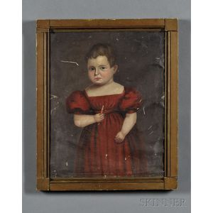 Robert Deacon Peckham (American, 1785-1877)      Portrait of a Child in a Red Dress Holding a Candy Cane.