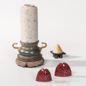 Adrian Saxe (American, b. 1943) Ceramic Vase and Three Oil Lamps