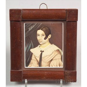 American School, 19th Century    Portrait Miniature of a Brown-Haired Girl with a Curl.