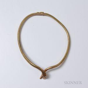 9kt Gold Snake Necklace