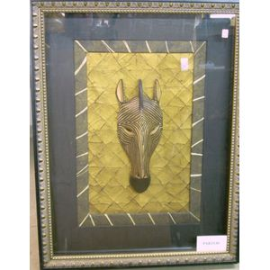 Three Decorative Framed and Mounted African-style Carved and Painted Animal Masks