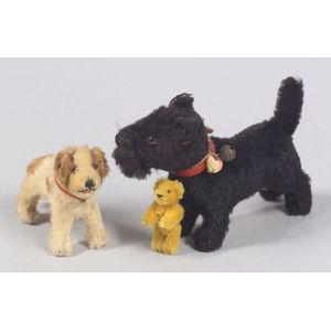 Two Steiff  Mohair Dogs and a Small Schuco Bear