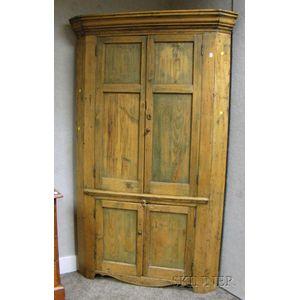 Country Pine Four-Door Corner Cupboard